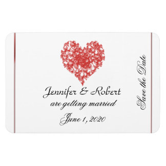 Persimmon Butterfly Heart Wedding Save the Date Rectangle Magnet