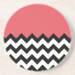 Persimmon Coral Pink Pattern On Large Zigzag Coaster