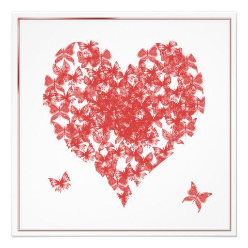 Persimmon Rose Butterfly Heart Wedding Invitation