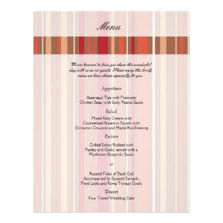 Persimmon Stripe Fall Wedding Menu 21.5 Cm X 28 Cm Flyer