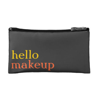 "Persimmon, Sunshine, Grey ""hello makeup"" MakeupBag Cosmetic Bag"