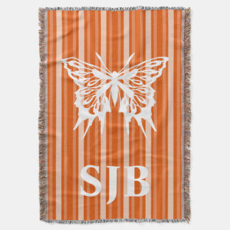 Persimmon Victorian Stripe with Butterfly Throw Blanket