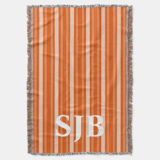 Persimmon Victorian Stripe with Monogram Throw Blanket