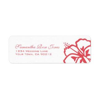 Persimmon & White Hibiscus Flowers Custom Address
