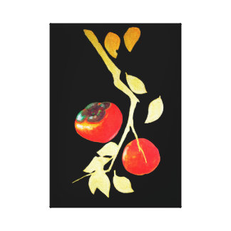 Persimmon with golden branch canvas print