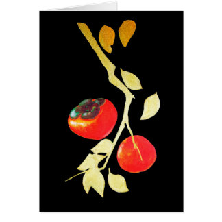 Persimmon with golden branch card