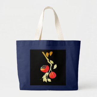 Persimmon with golden branch large tote bag
