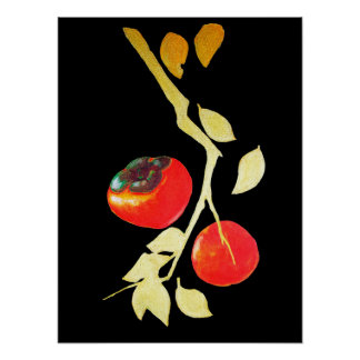 Persimmon with golden branch poster