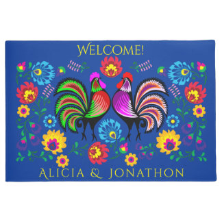 Persoalized Colorful Folk Art Roosters and Flowers Doormat