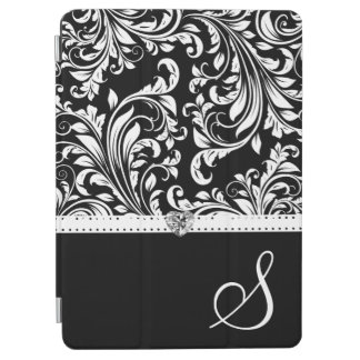 Persoanlzied Damask with Monogram & Diamond Heart iPad Air Cover