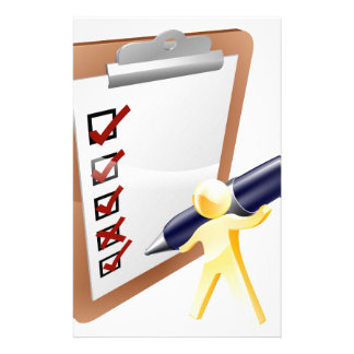 Person completing survey personalised stationery