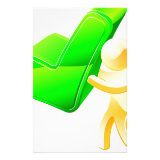 Person holding green tick custom stationery
