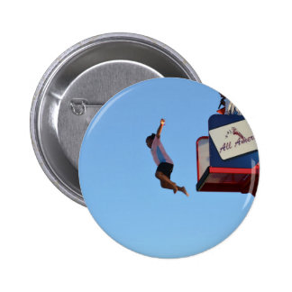 person jumping off of tower fair ride pinback button