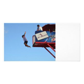 person jumping off of tower fair ride photo cards