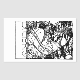 Person Reading In Garden Bookplate Sticker