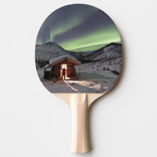 Person stands in doorway of Caribou Bluff cabin 2 Ping Pong Paddle