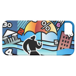 Person walking with numbers falling on umbrella case for the iPhone 5