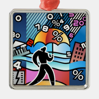 Person walking with numbers falling on umbrella christmas ornament