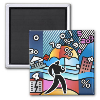 Person walking with numbers falling on umbrella square magnet