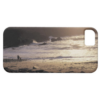 person with child walking on rocky beach iPhone 5 cover