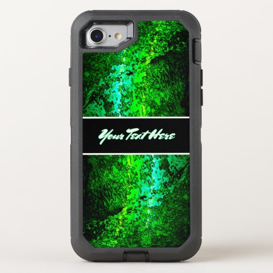 Personal Abstract Green Text OtterBox Defender iPhone 7 Case