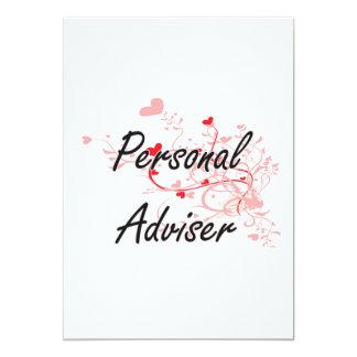 Personal Adviser Artistic Job Design with Hearts 13 Cm X 18 Cm Invitation Card