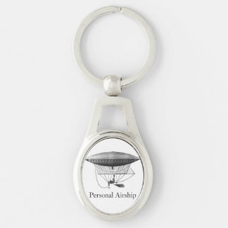Personal Airship Silver-Colored Oval Key Ring
