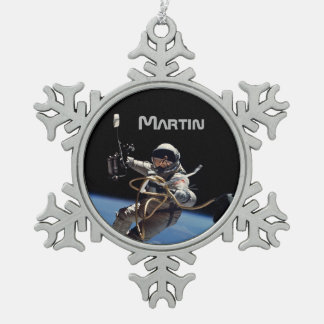 Personal Astronaut Space Walk Snowflake Pewter Christmas Ornament