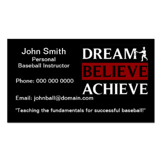 Personal Baseball Instructor Double-Sided Standard Business Cards (Pack Of 100)