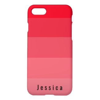 Personal Bright Red Pink Coral Hues Monogram iPhone 8/7 Case