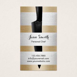 Personal Chef Catering Black Knife Gold Silver Business Card