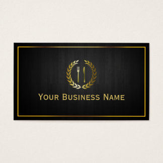 Personal Chef Catering Restaurant Wood Background Business Card