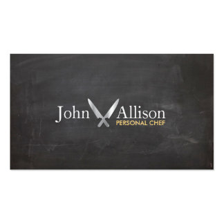 Personal Chef, Chef Knife, Catering Chalkboard Business Cards