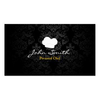Personal Chef Elegant Dark Damask Pack Of Standard Business Cards