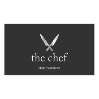 Personal Chef Knife Logo Simple Culinary Catering Pack Of Standard Business Cards