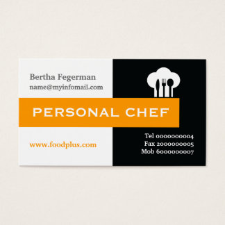 Personal chef minimalist black, white, hot pink business card