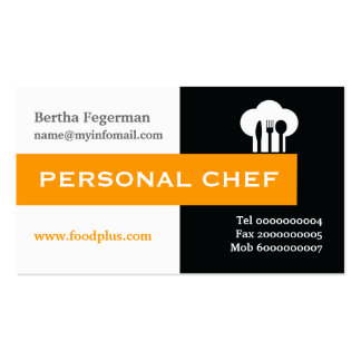 Personal chef minimalist black, white, hot pink pack of standard business cards