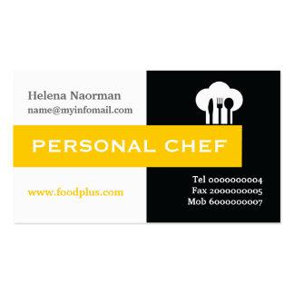 Personal chef minimalist black, white, yellow business card