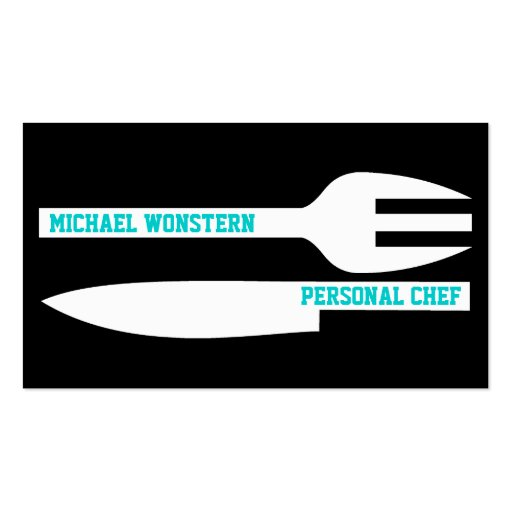 Personal chef minimalist business card black white business cards