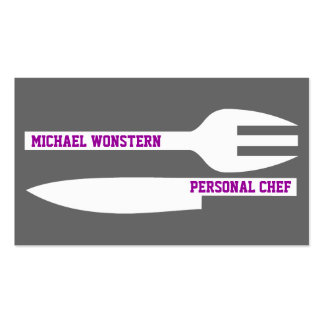 Personal chef minimalist business cards grey white business card template
