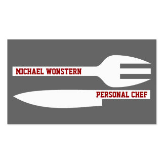 Personal chef minimalist business cards grey white business card