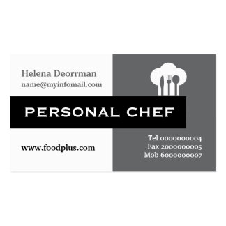 Personal chef minimalist grey, white, black Double-Sided standard business cards (Pack of 100)