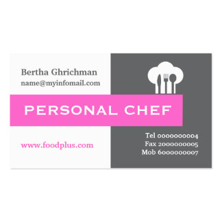 Personal chef minimalist grey, white, hot pink Double-Sided standard business cards (Pack of 100)