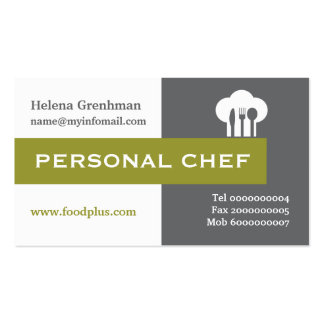 Personal chef minimalist grey, white, olive Double-Sided standard business cards (Pack of 100)