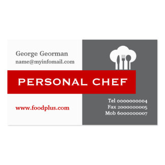 Personal chef minimalist grey, white, red pack of standard business cards