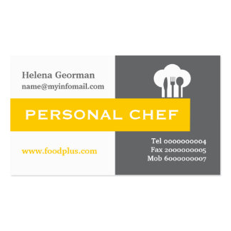Personal chef minimalist grey, white, yellow Double-Sided standard business cards (Pack of 100)