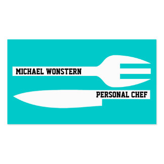 Personal chef minimalist turquoise white pack of standard business cards