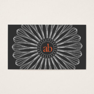 Personal Chef  Monogrammed Whisk Logo Business Card