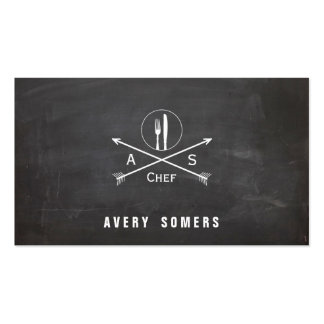 Personal Chef Retro Arrows and Cutlery Cool Black Pack Of Standard Business Cards