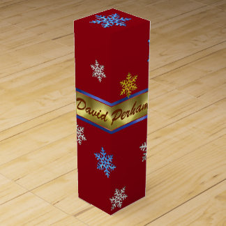 PERSONAL CHRISTMAS WINE GIFT BOX, RED GOLD BOX